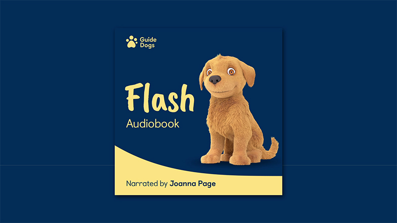 Flash audiobook cover features Flash animated puppy and 'narrated by Joanna Page'