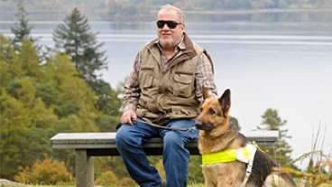 Alan and his guide dog Seamus