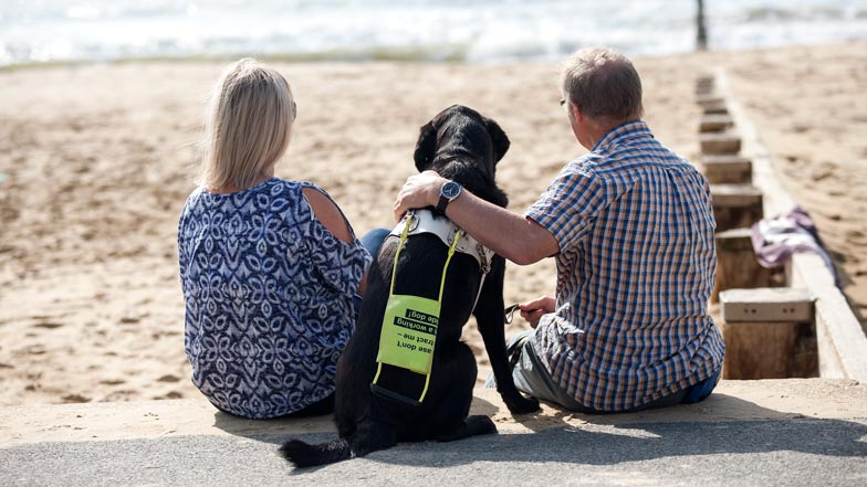 A couple sat on the beach with their guide dog