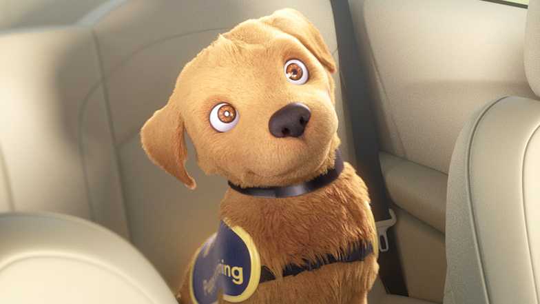 Animated Flash puppy sits in a car looking happy