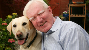 Guide dog owner Paul Thomas and guide dog Yancy
