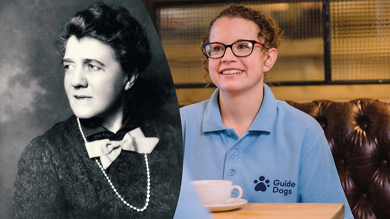 Two images of a woman side by side, one black and white and one in colour, in the colour one the woman is wearing a Guide Dogs t-shirt