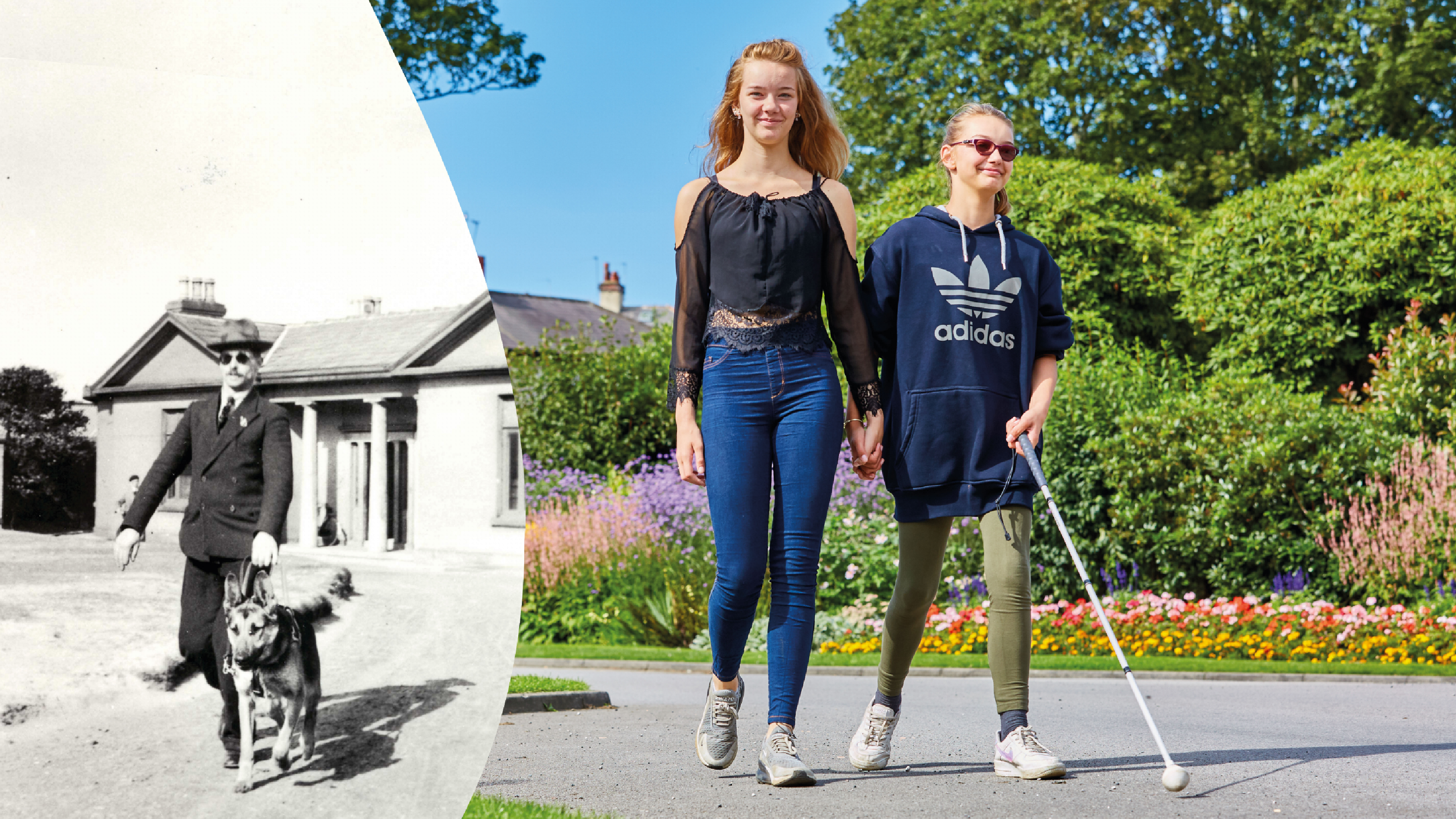A split photograph of Guide Dogs' service users, one 90 years ago and another today.