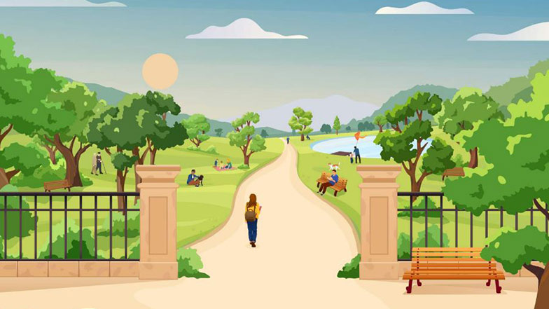 Representation of a park on a sunny day gates open onto a path