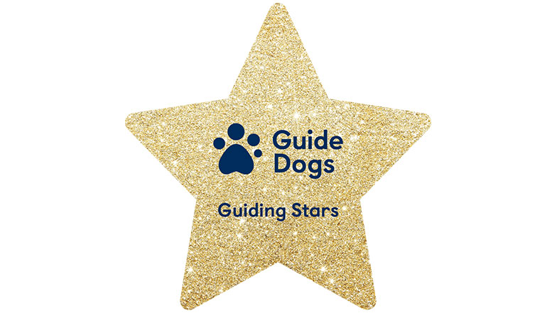 Glittery Guiding Stars star with Guide Dogs logo