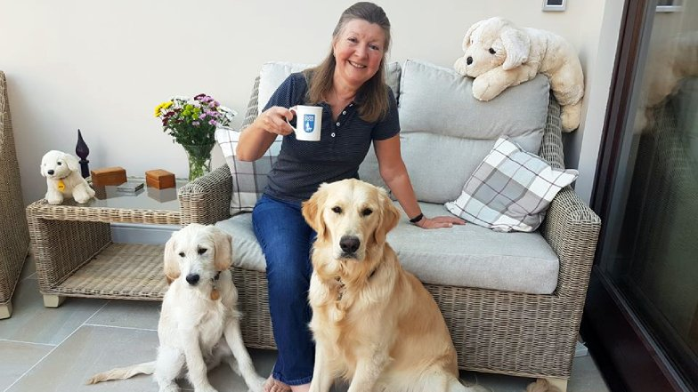 Janice and her two guide dog puppies