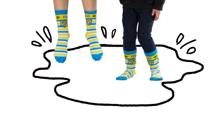 Walk Your Socks Off socks jumping in animated puddle