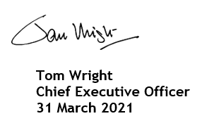 Tom Wright's signature (CEO of Guide Dogs)