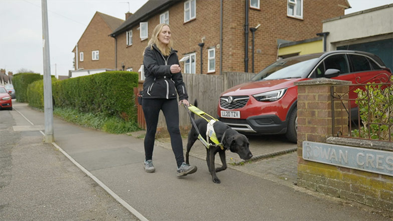 A guide dog owner walking along the street with her guide dog
