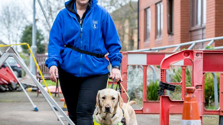 Poppy navigating the obstacle course with Kirsty at a Guide Dogs training school