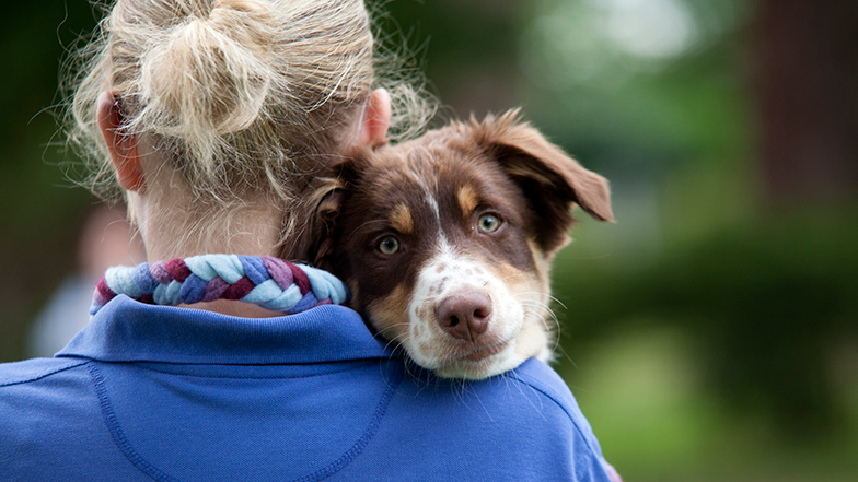 A person holding a dog with them looking over their shoulder