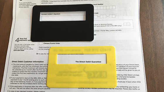 Image shows a document with a black signature guide and a yellow signature guide showing where to add a signature.