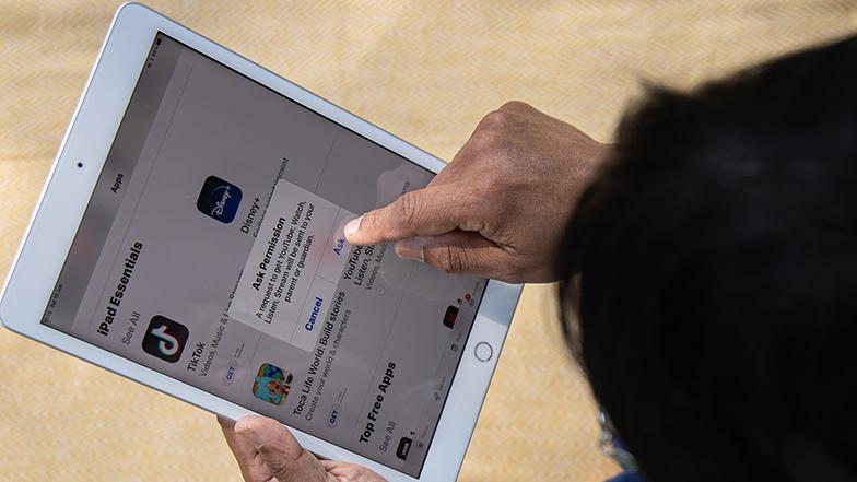 Someone using parental controls on iPad